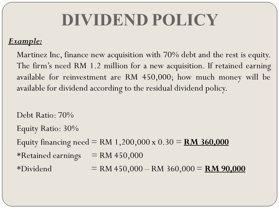 dividend policies The previous post was titled dividends and dividend policy for private companies: an introduction in that post, we reviewed the fact that dividends are a residual of earnings and net cash flow that are available to be paid out to the owners of a business.