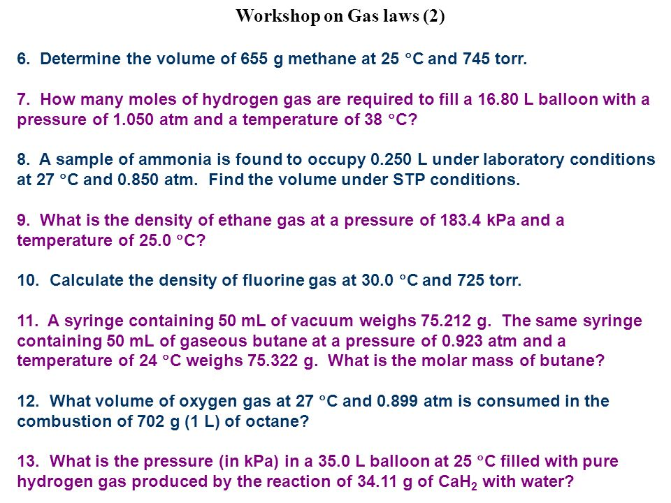 how to find density of methane at stp