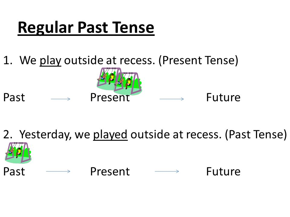 Regular Past Tense We play outside at recess. (Present Tense)