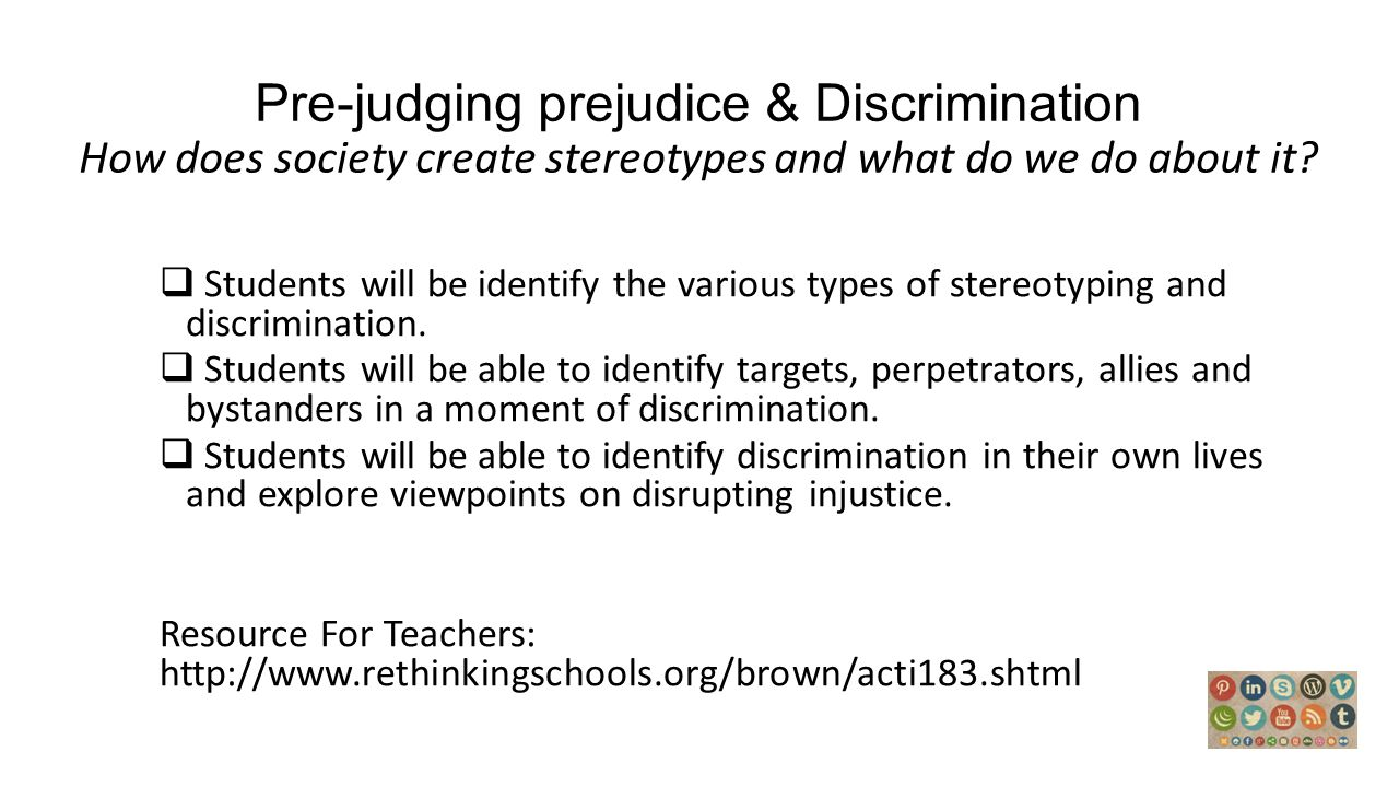 prejudice vs discrimination research papers Prejudice is an unjustified or incorrect attitude (usually negative) towards an individual based solely on the individual's membership of a social group.