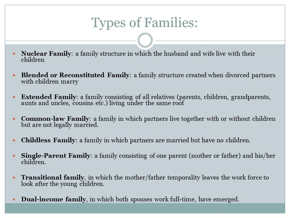 the definition of family and alternative types of families Courts have not abided restrictive definitions of family which keep out certain types of families with the alternative definition of a family as being.