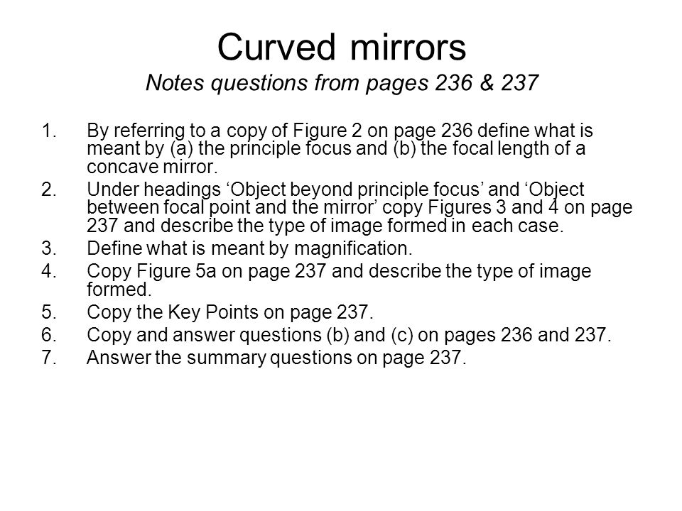 Aqa gcse 3 2a light gcse physics pages 234 to 253 april for Mirror questions