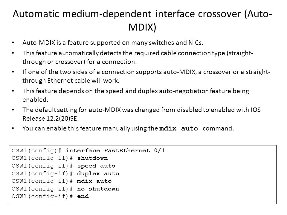 Automatic medium-dependent interface crossover (Auto-MDIX)