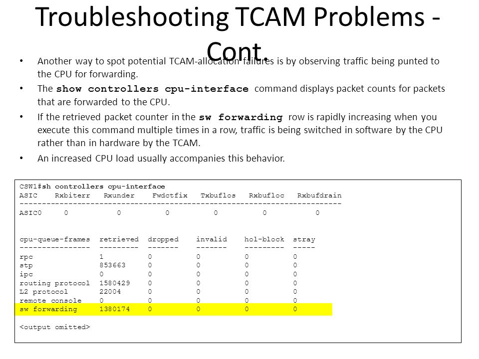 Troubleshooting TCAM Problems - Cont.