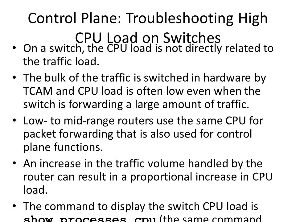 Control Plane: Troubleshooting High CPU Load on Switches
