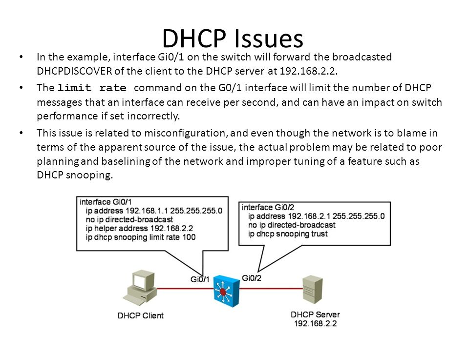 DHCP Issues In the example, interface Gi0/1 on the switch will forward the broadcasted DHCPDISCOVER of the client to the DHCP server at 192.168.2.2.