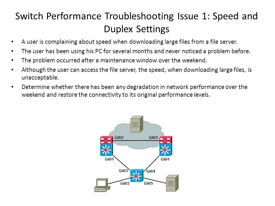 Switch Performance Troubleshooting Issue 1: Speed and Duplex Settings