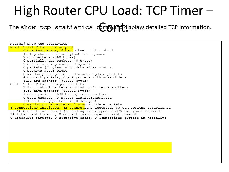 High Router CPU Load: TCP Timer – Cont.