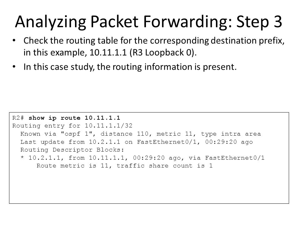Analyzing Packet Forwarding: Step 3