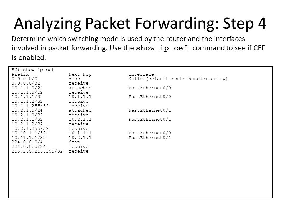 Analyzing Packet Forwarding: Step 4
