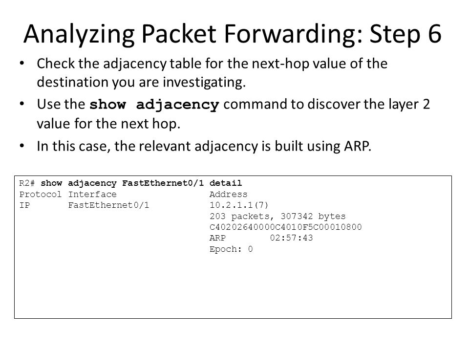 Analyzing Packet Forwarding: Step 6