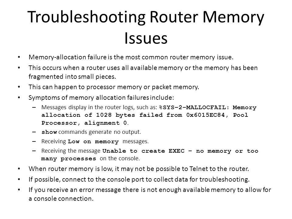 Troubleshooting Router Memory Issues