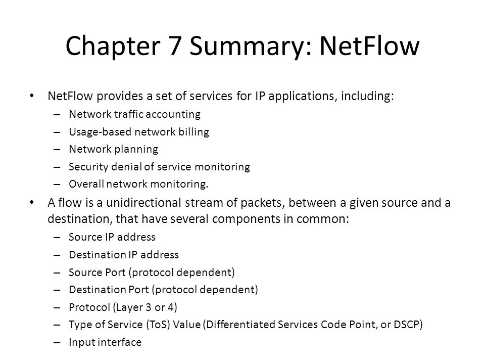 Chapter 7 Summary: NetFlow