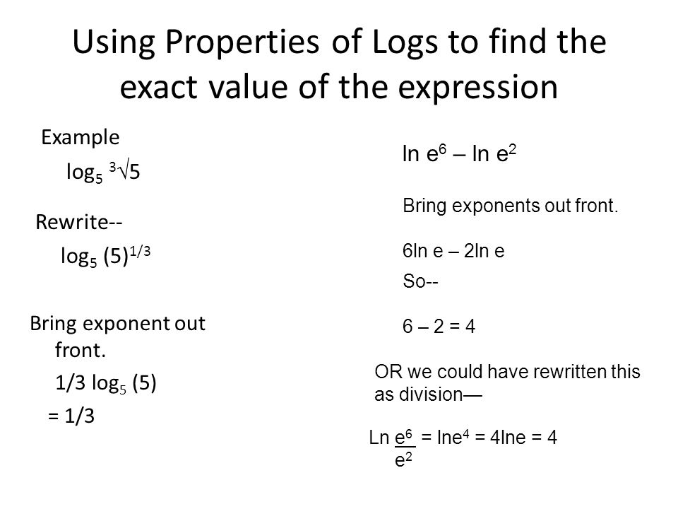 properties of exponents and logarithms pdf