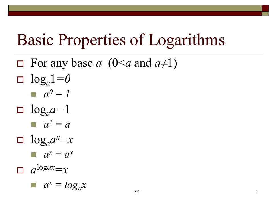 Section 9.4 Properties of Logarithms - ppt download