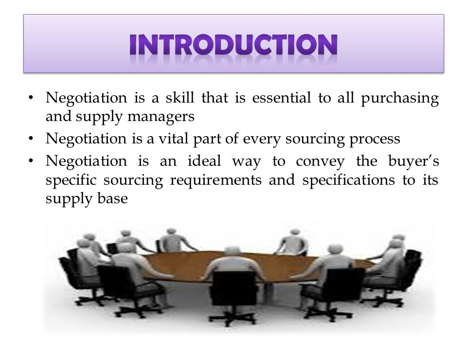 an introduction to the negotiation process Introduction how prevalent is negotiation all of us negotiate many times a day (shell, 1999, p 6) indeed, shell noted that most people begin negotiating at a very early age.