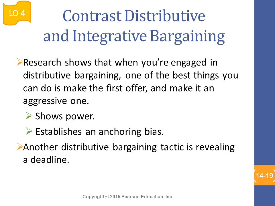characteristics of distributive and integrative bargaining Definition of distributive bargaining: zero-sum or win-lose negotiations (where one party's gain is the other party's loss) it occurs when a fixed amount of assets or resources are to be divided (such as between a management and a union).