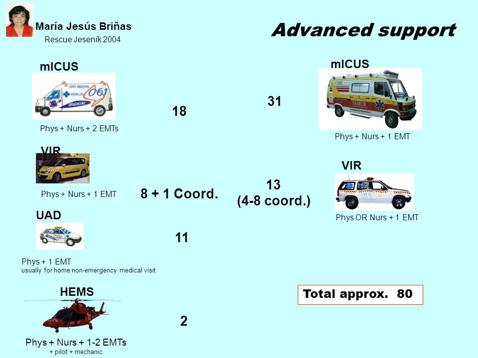 Advanced support 31 18 13 8 + 1 Coord. (4-8 coord.) 11 2 mICUS mICUS