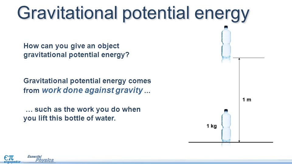 gravitational potential energy 55, that gravity is a conservative force, and, therefore, has an associated potential energy let us obtain a general formula for this energy consider a point object of mass $m$ , which is a radial distance $r$ from another point object of mass $m$ the gravitational force acting on the first mass is of magnitude $f = g m/r^2$.