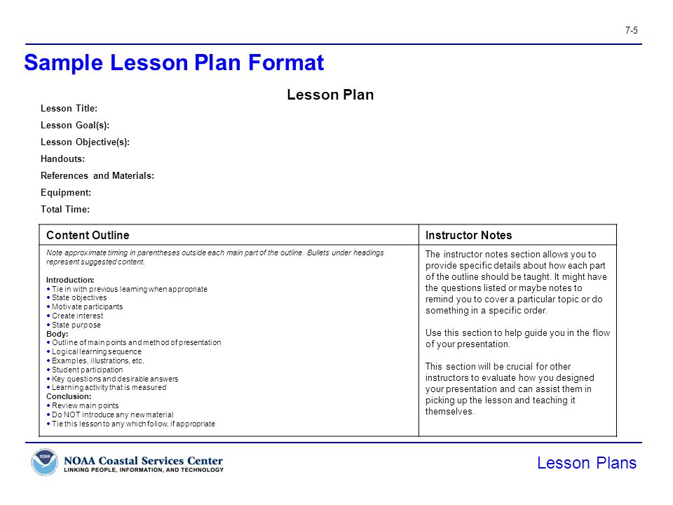 Sample of a lesson plan in