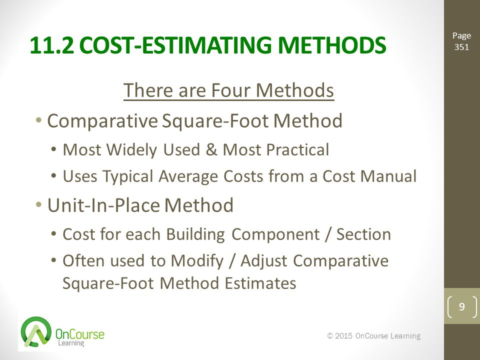 Introducing the cost approach ppt video online download for Estimating building costs per square foot