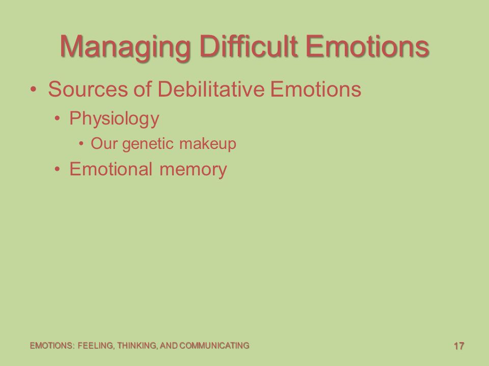 """debilitative emotions Destructive anger is a debilitative emotion however, """"about 33 to 67% of the time, the [constructive] expression of anger seems to result in a more positive relationship and increased understanding of the other person, oneself, and the problem"""" (johnson, 307)."""