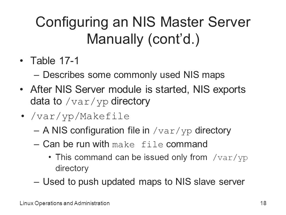 Configuring an NIS Master Server Manually (cont'd.)