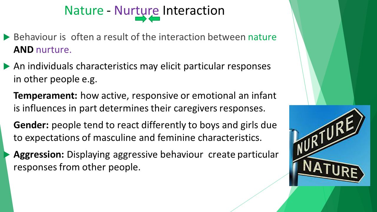 impact of nature or nurture may The extent to which our development is affected by nature or nurture -- our genetic make-up or our environment -- may differ depending on where we live, according to new research in a study.