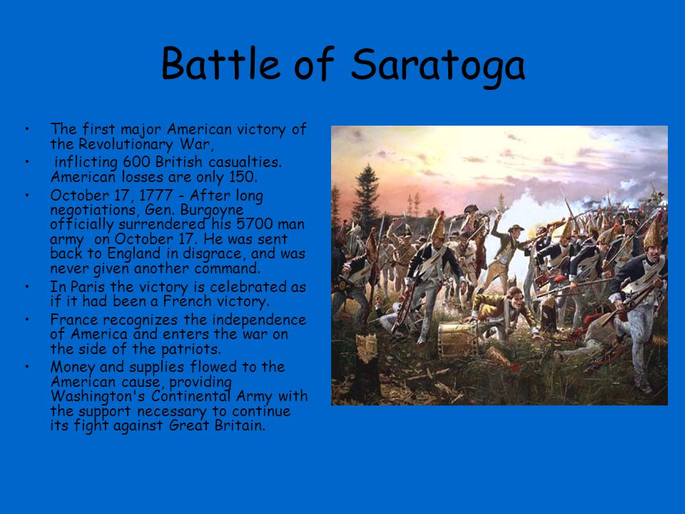 account of the first battle of saratoga Best answer: september 19, 1777 arnold and gates argue at first battle of saratoga in the early morning hours of this day in 1777, british general john burgoyne.