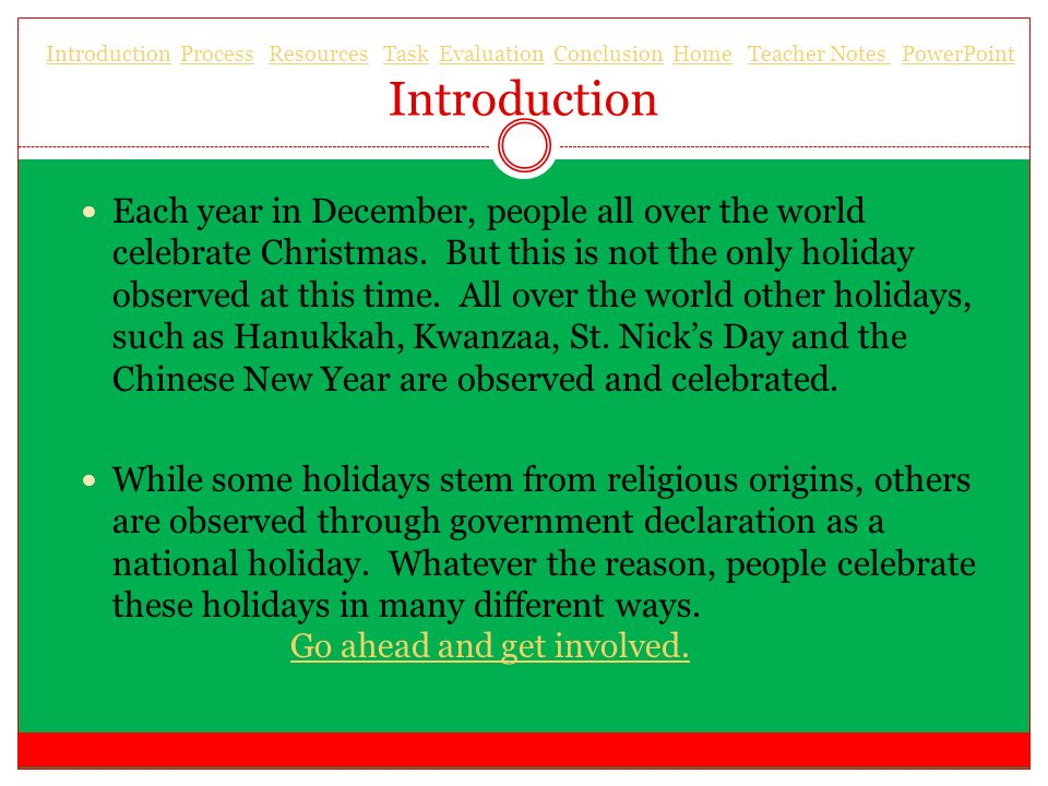 Winter Holidays Around The World 2 Introduction