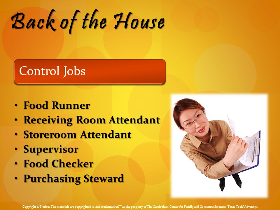 Back Of The House Control Jobs Food Runner Receiving Room Attendant