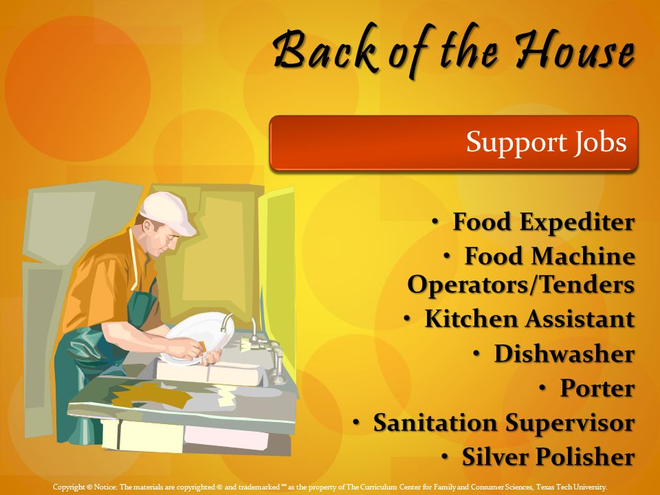 Back Of The House Support Jobs Food Expediter