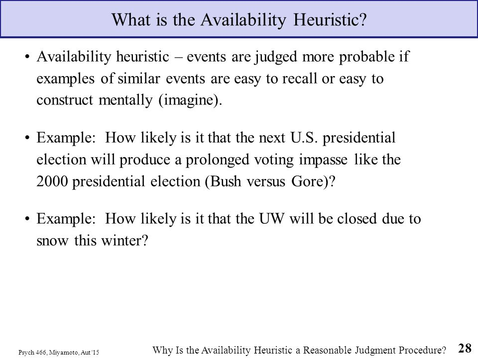 what is the availability heuristic Looking for online definition of availability heuristic in the medical dictionary  availability heuristic explanation free what is availability heuristic meaning of.