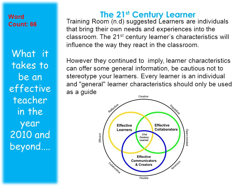 The 21st Century Learner Word Count: 66.