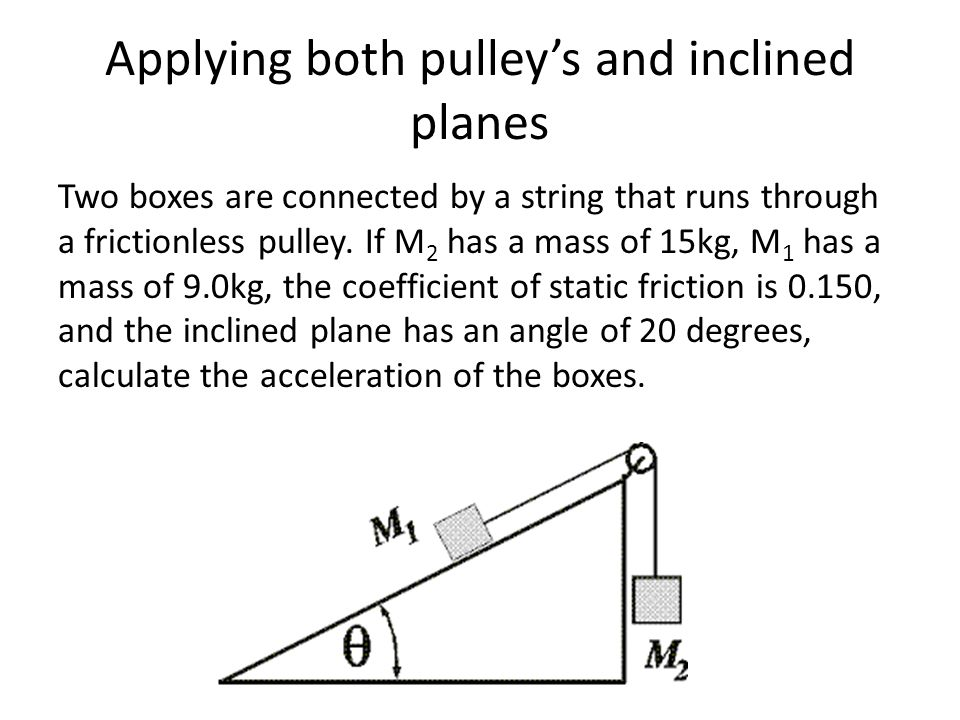 Physics chapter 4 pulleys ppt video online download acceleration of the boxes applying both pulleys and inclined planes ccuart Choice Image