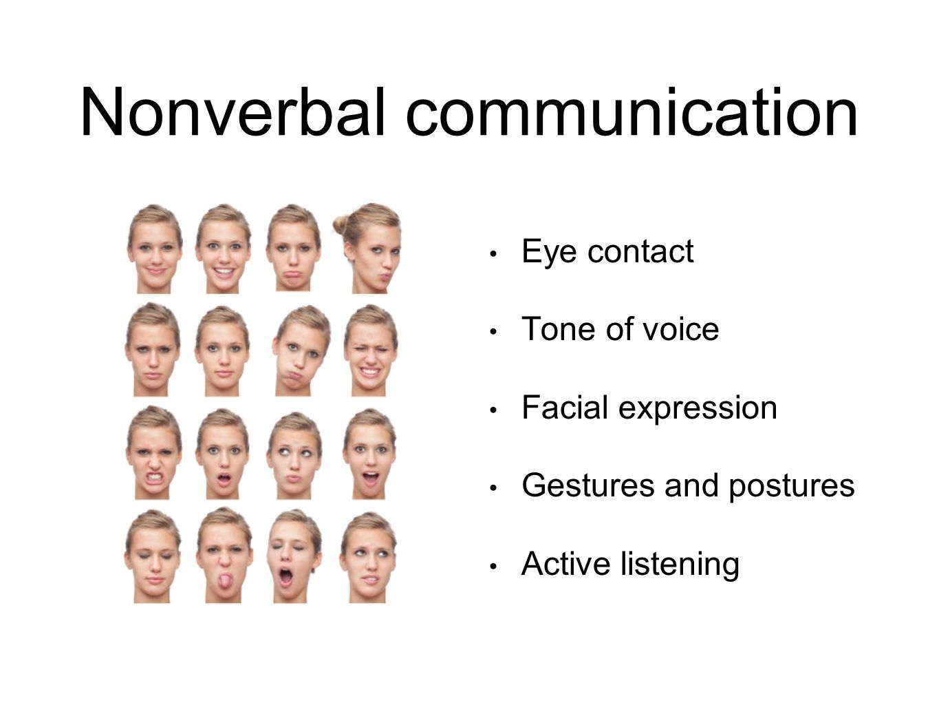 listening communication and eye contact Eye contact is a form of nonverbal communication that carries a lot of meaning when we make eye contact while speaking, we show our interest and engagement in the conversation.