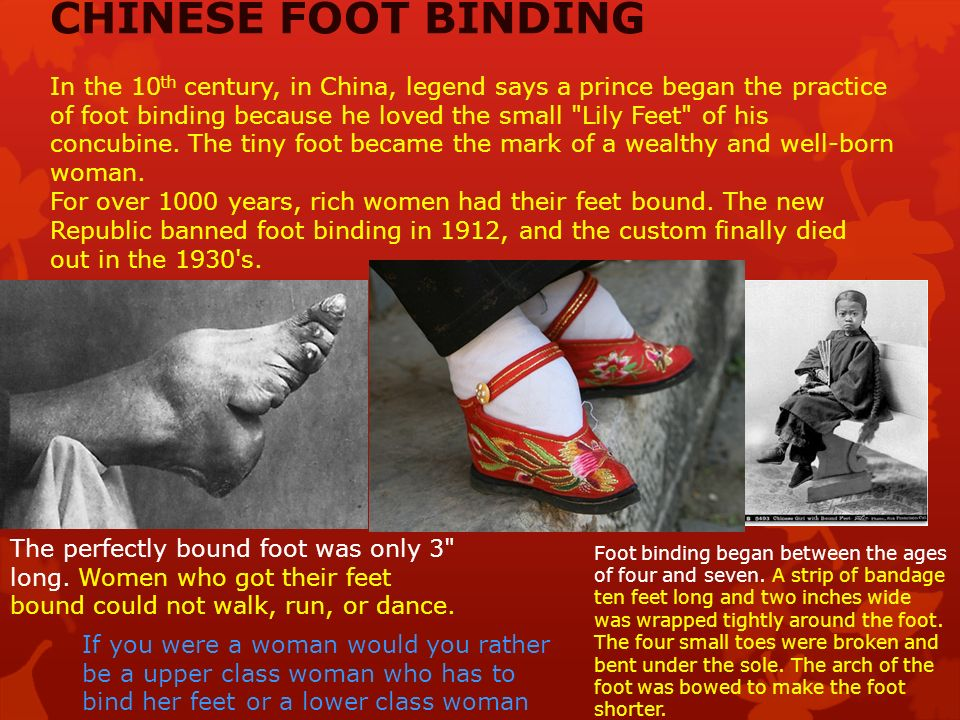 an overview of footbinding Why should you care about foot binding in pearl s buck's the good earth we have the answers here, in a quick and easy way.