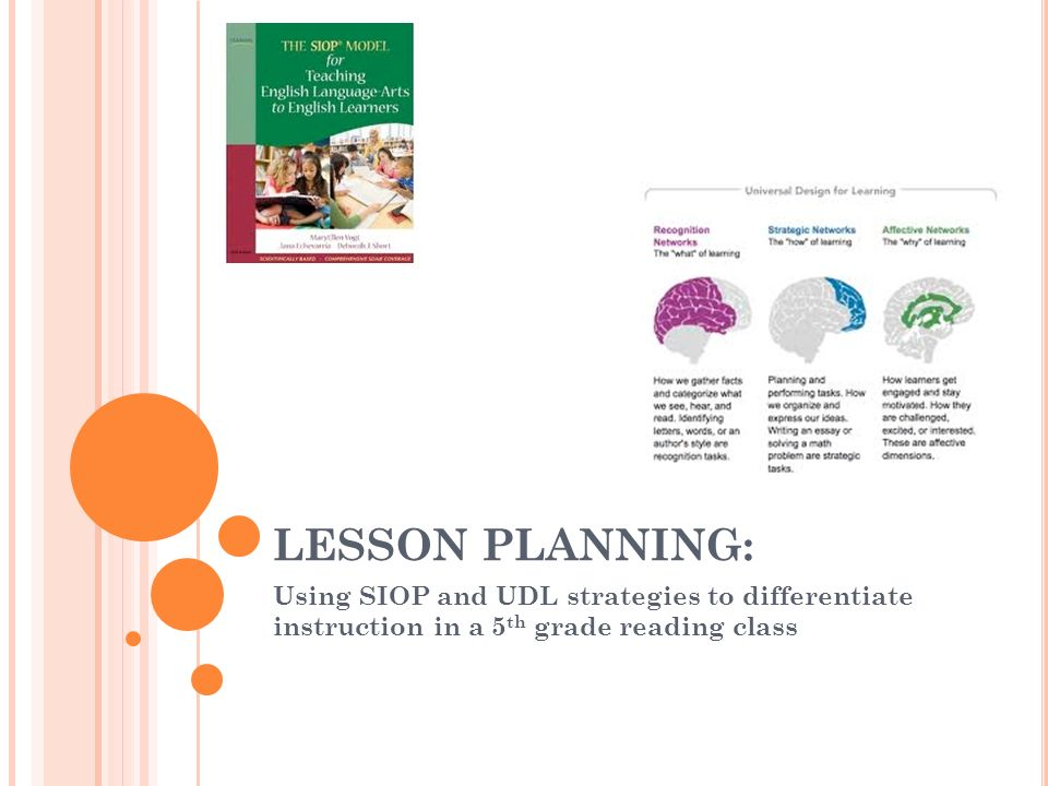 Lesson Planning Using Siop And Udl Strategies To Differentiate