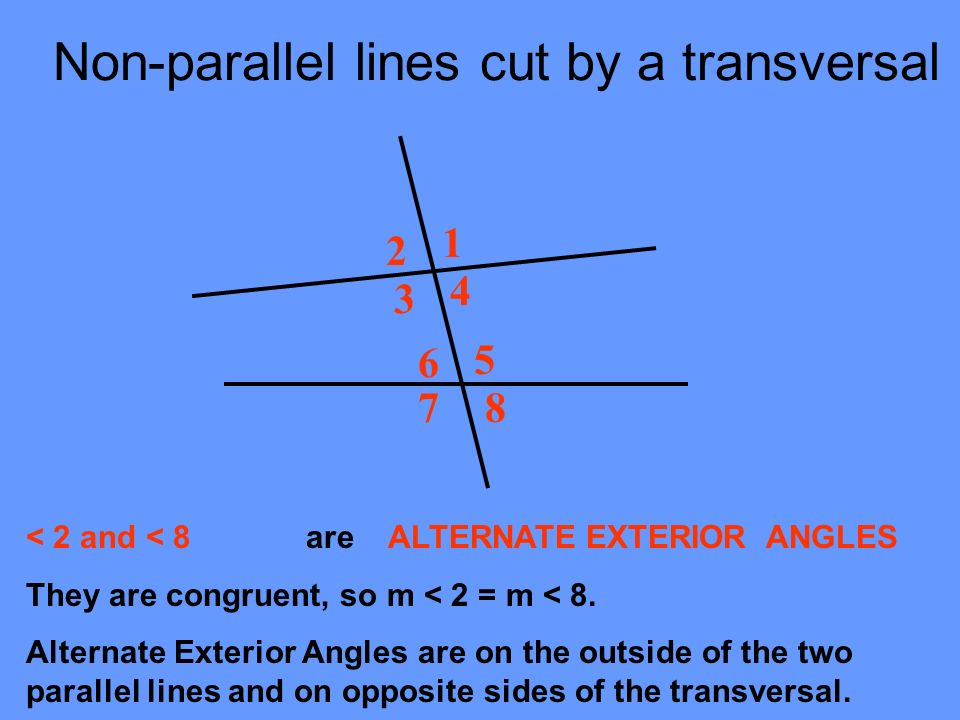 Lines Cut By A Transversal Ppt Download