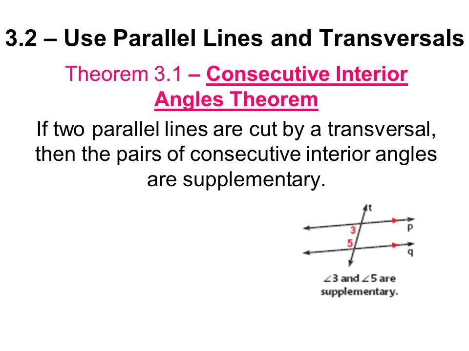 3 2 use parallel lines and transversals ppt video online download for Consecutive exterior angles theorem