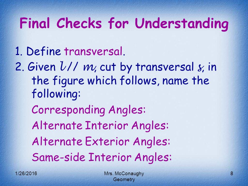 Transversals Special Angles Ppt Video Online Download