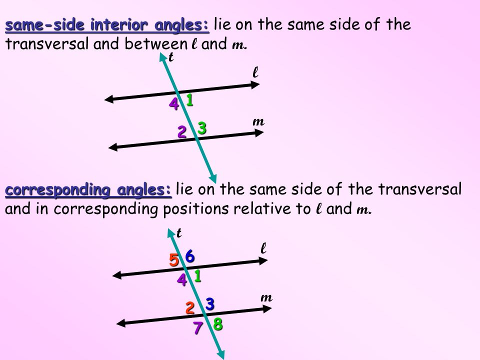 Same Side Interior Angles: Lie On The Same Side Of The Transversal And  Between