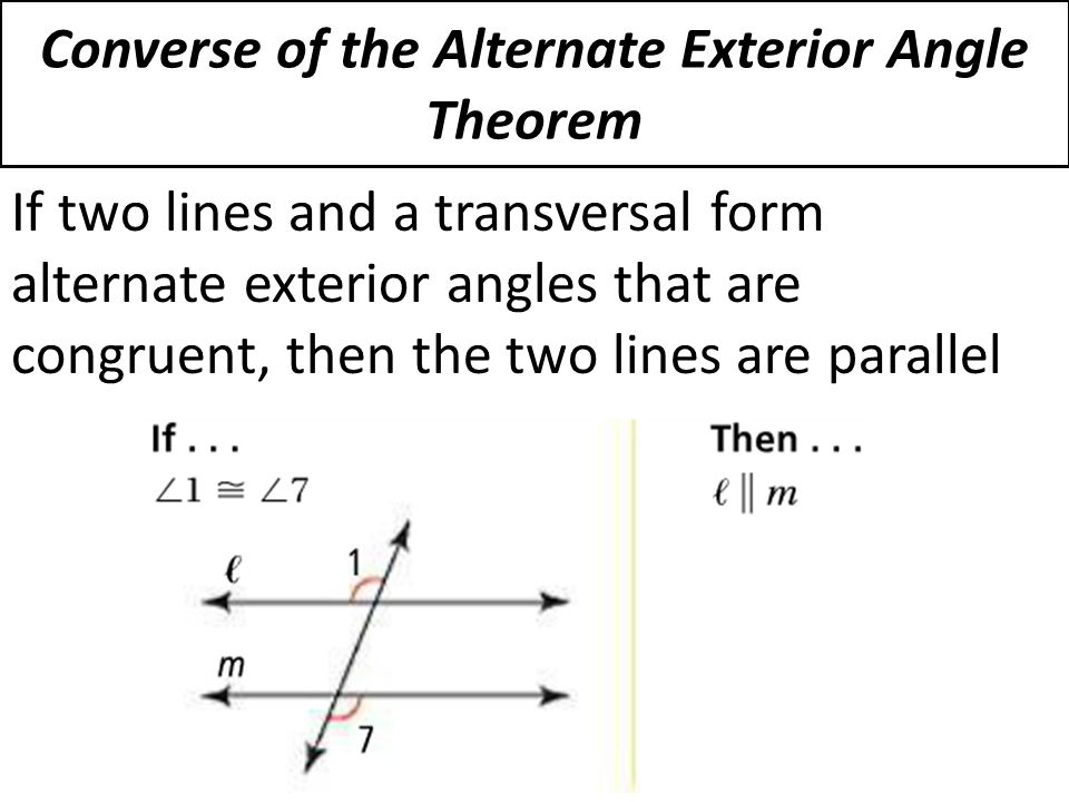 3 3 proving lines parallel ppt download Alternate exterior angles conjecture