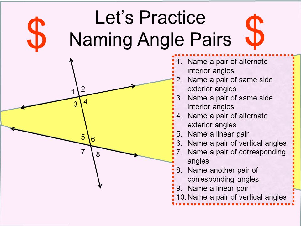 Parallel Lines Transversals Special Angle Pairs Ppt Download