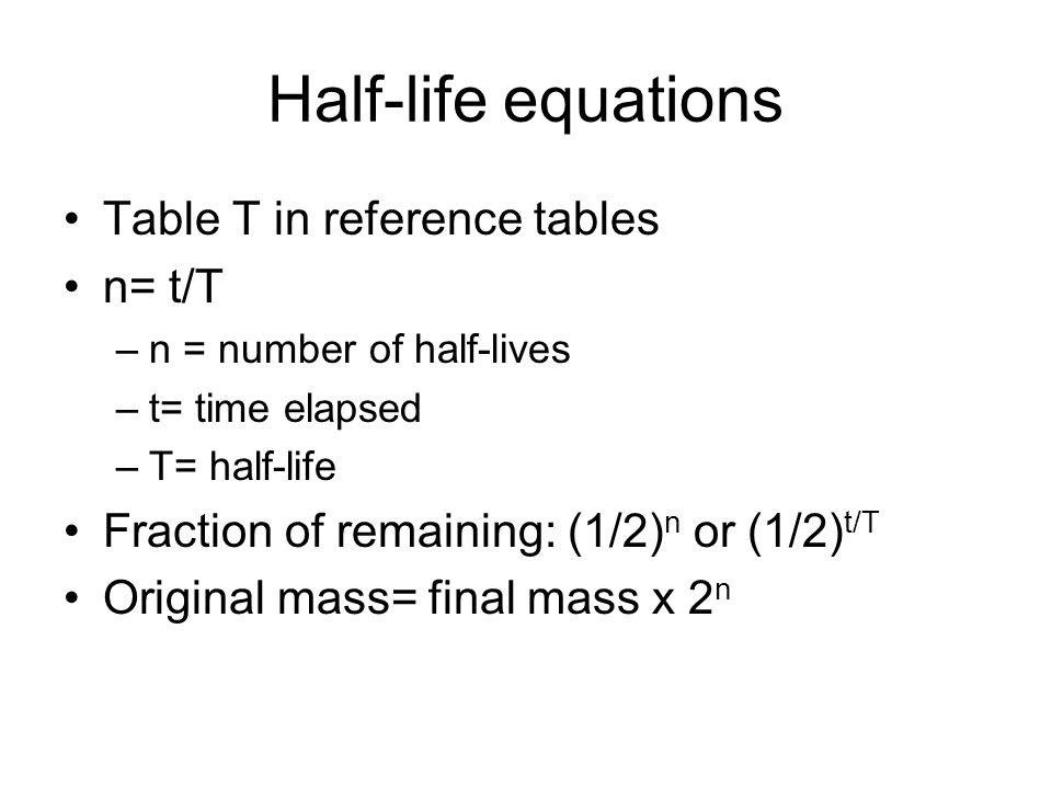 Half life equations jennarocca for Chemistry reaction calculator fort de france