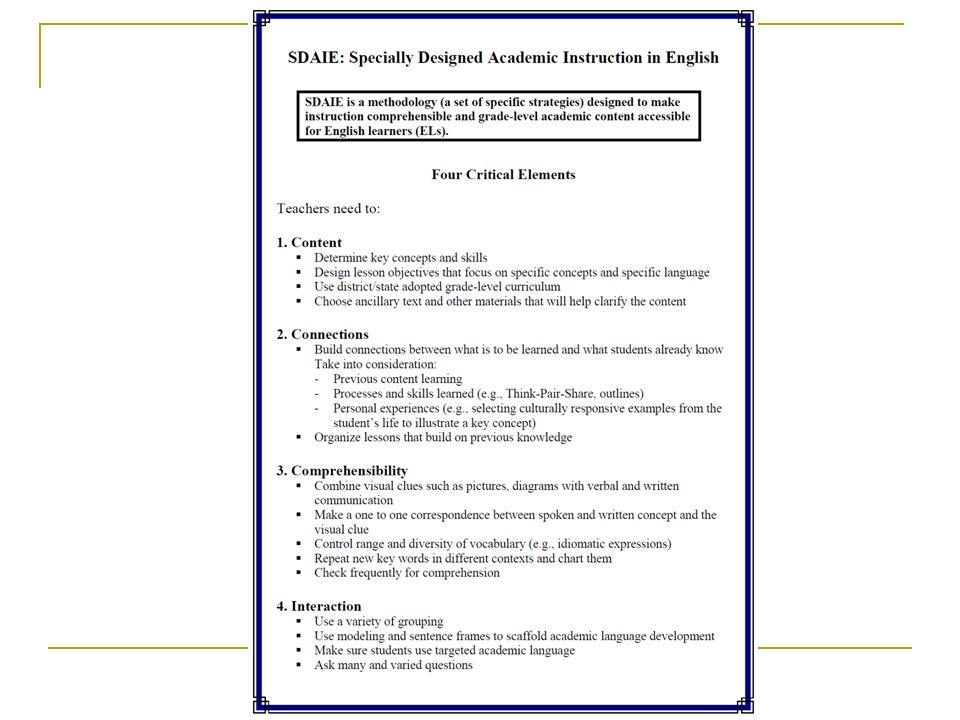 Sdaie session 2 universal access sdaie lesson design for Sdaie lesson plan template