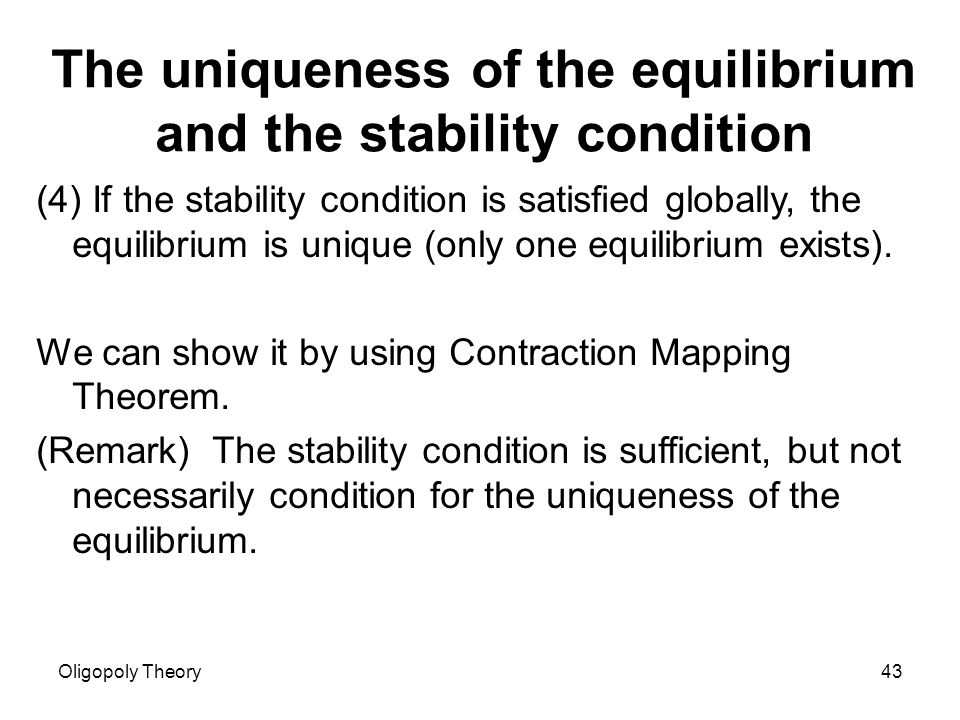 game theory in setting quantity oligopoly essay Theory, this setting is more aptly referred to as oligopoly with perfect  demand  function are the same, quantities in cournot's oligopoly model lead to  we  provide only a short summary here, and refer the reader to the studies  themselves  of existence of a pure-strategy nash equilibrium (henceforth,  psne) for this model.