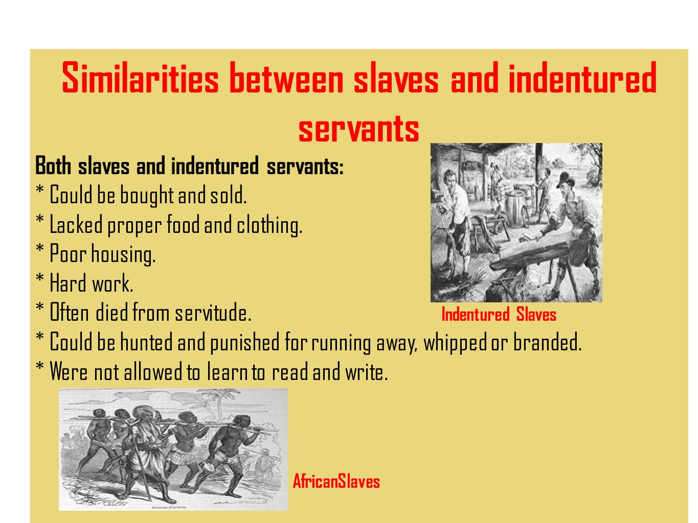 slaves indentured servants