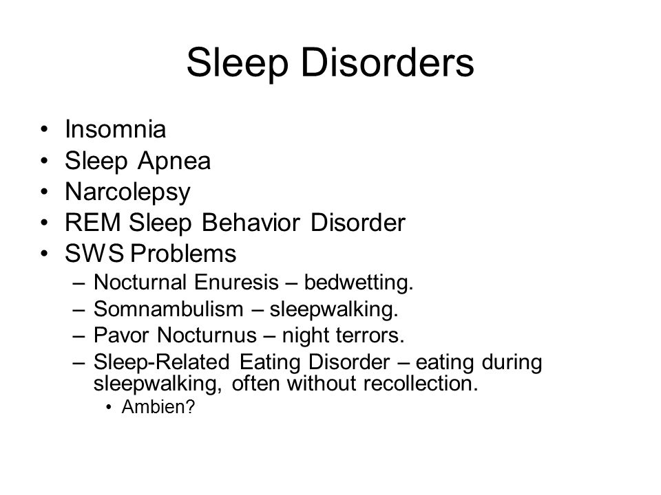 sleeping behaviors and problems Cognitive-behavioral therapy psychotherapy that focuses on cognitive processes and problem behaviors that is sometimes used to treat sleep disorders such as insomnia continuous positive airway pressure (cpap) device used to treat sleep apnea includes a mask that fits over the sleeper's nose and mouth, which is connected to a pump that pumps .