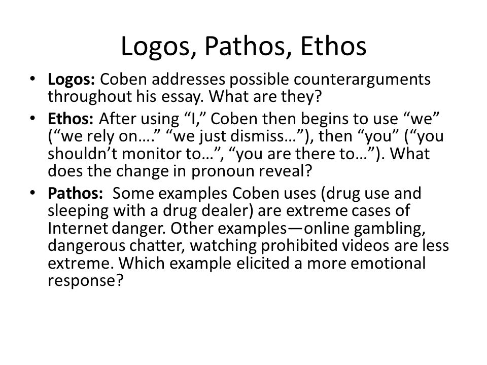 key vocabulary a partner order the words from most negative  20 logos pathos ethos logos coben addresses possible counterarguments throughout his essay